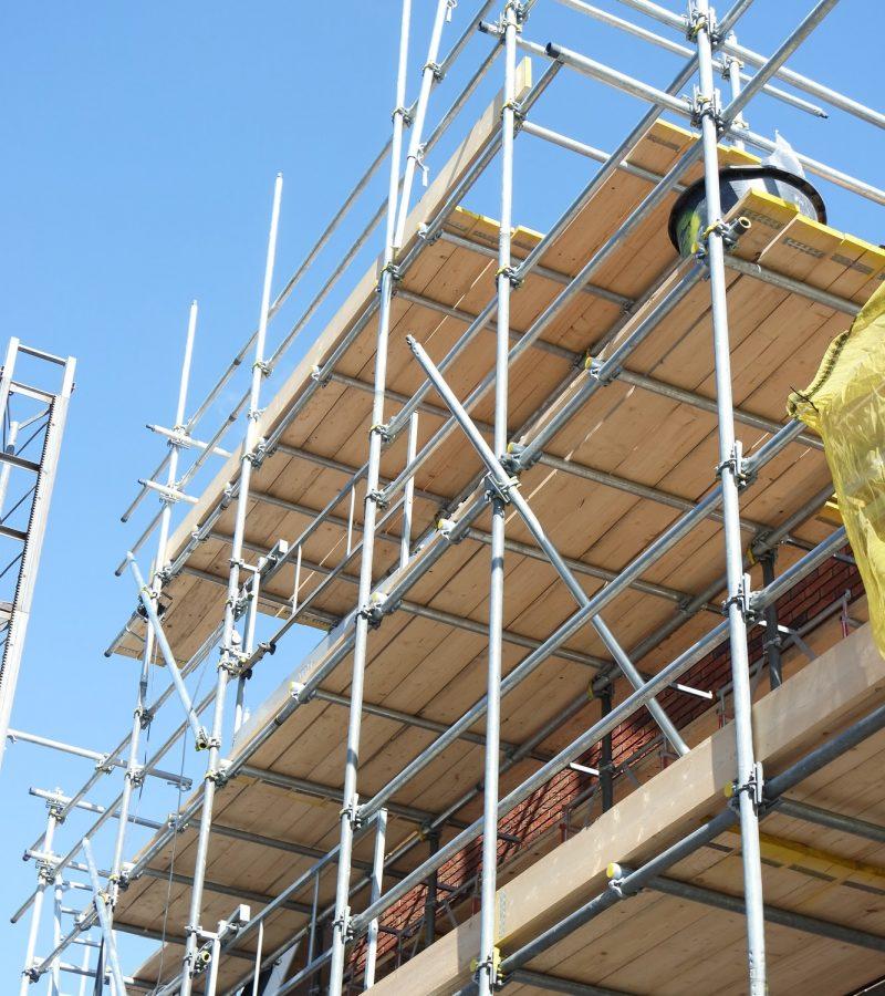 Construction site. Scaffolding.